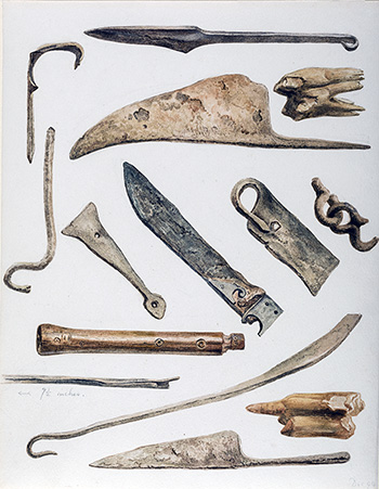 This is an image of Beatrix Potters watercolour titled Ten metal objects, knife blades, bent hatchet blade, hooks and chain, one wooden object, possibly a flute or a recorder type instrument and two teeth