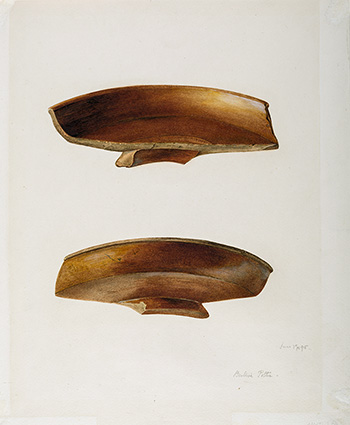 This is an image of Beatrix Potters watercolour titled Plain Samian dish sherd (Dragendorf 18R) from two angles