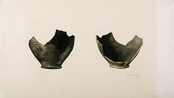 This is an image of Beatrix Potters watercolour titled  Base sherd from two angles coarse-ware