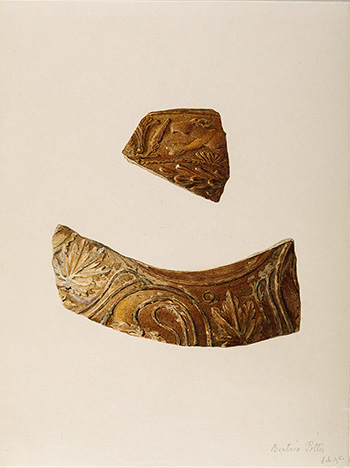 This is an image of Beatrix Potters watercolour titled Two decorated Samian sherds